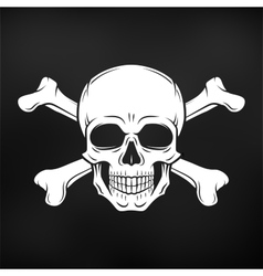 Human evil skull Jolly Roger with vector image vector image