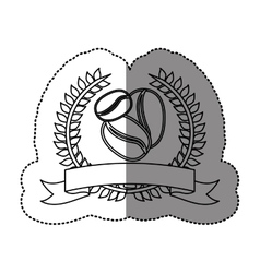 monochrome sticker with olive crown with ribbon vector image
