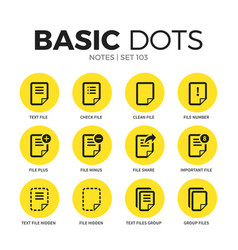 notes flat icons set vector image vector image