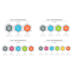 set of flat style 3-6 steps timeline infographic vector image