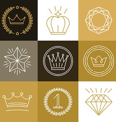 Set of linear gamification badges vector image vector image