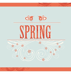Spring word flowers and birds vector image vector image