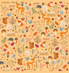 autumn forest pattern seamless print vector image
