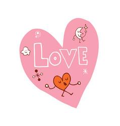 love heart shaped design vector image