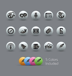 New Media Icons Pearly Series vector image