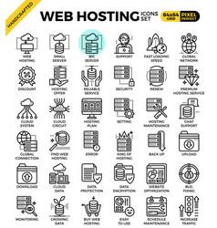 web hosting line icon set vector image