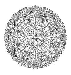 black white doodle circular mandala with a boho vector image