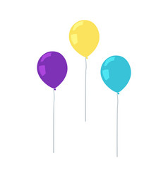 flying air balloons of purple yellow color vector image