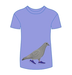 Going gray pigeon in blue sneakers t-shirt vector