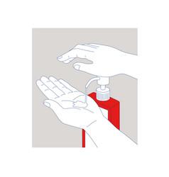 Hand sanitizer monoline vector