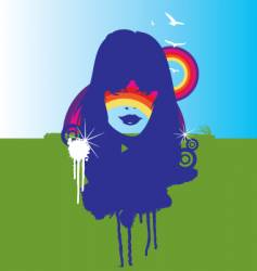 nature and the rainbow illustration vector image