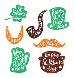 set of stickers emblems with lettering leaf vector image