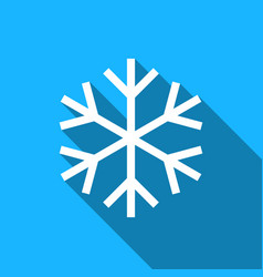 snowflake flat icon with long shadow vector image vector image