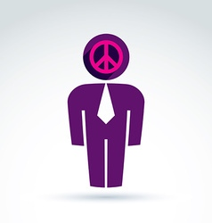 White collar office worker man icon peace sign vector image