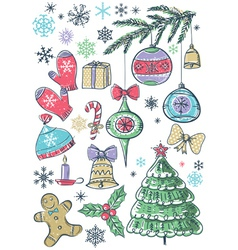 background with christmas elements vector image