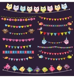 Colorful flags and garlands set with birds vector image