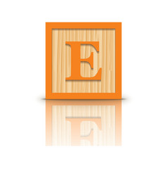 Letter e wooden alphabet block vector