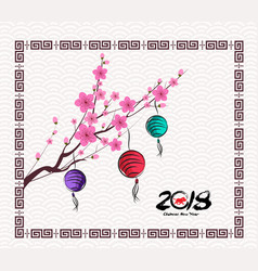 oriental paper lantern plum blossom year of the vector image