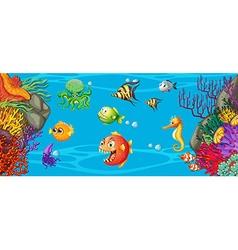 Scene with many fish underwater vector image