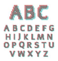 Stereoscopic circles font vector image vector image