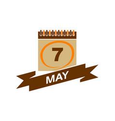 7 may calendar with ribbon vector