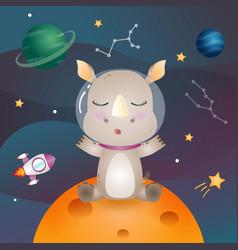 A cute rhino in space galaxy vector
