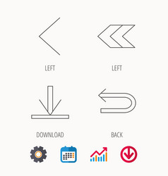 Arrows icons download back linear signs vector