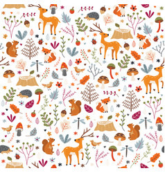 Autumn forest pattern seamless print vector