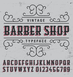 Barber shop typeface poster vector