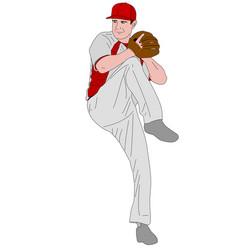 Baseball pitcher detailed vector