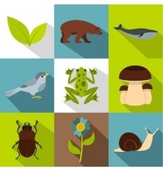 Beautiful nature icons set flat style vector image