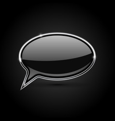 Black speech bubble with metal frame vector