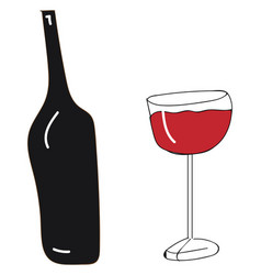 bottle of red wine with wine glass color on white vector image