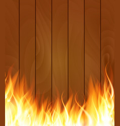 Burning fire special light effect flames on wood vector
