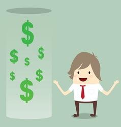 Businessman happy get money bonus from bank vector