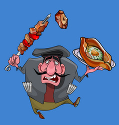 Cartoon caucasian man with barbecue and vector