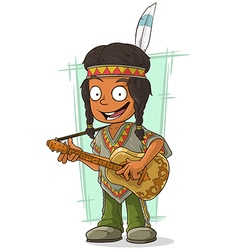 Cartoon Indian boy in poncho vector
