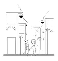 cartoon man and woman walking on street vector image