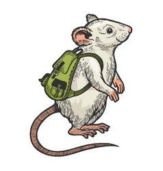 Cartoon mouse and backpack color sketch vector