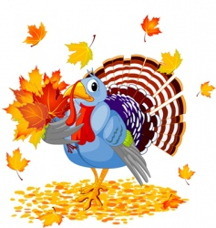 cartoon turkey with autumn bouquet vector image