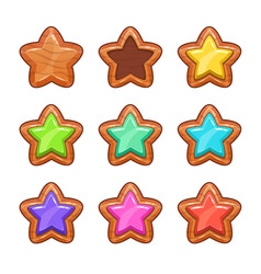 Cartoon wooden stars set vector