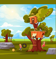 Children tree house composition vector