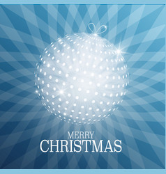 Christmas card with xmas ball on blue background vector
