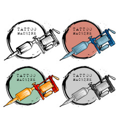 Collection of different style tattoo machine vector