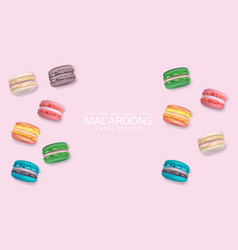 Colorful macaroons poster realistic 3d vector