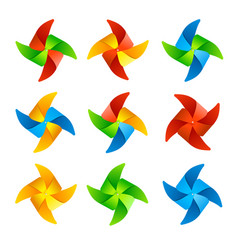 Colorful wind mill set vector