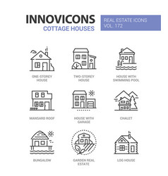 cottage houses - modern line design style icons vector image