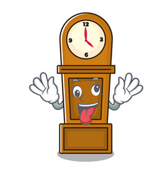 Crazy grandfather clock mascot cartoon vector