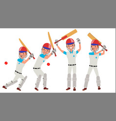 cricket player in action cricket team vector image