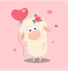 cute cartoon sheep with a balloon vector image